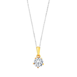 9K (375) Yellow Gold Ladies/ Women Round Cubic Zirconia Pendant