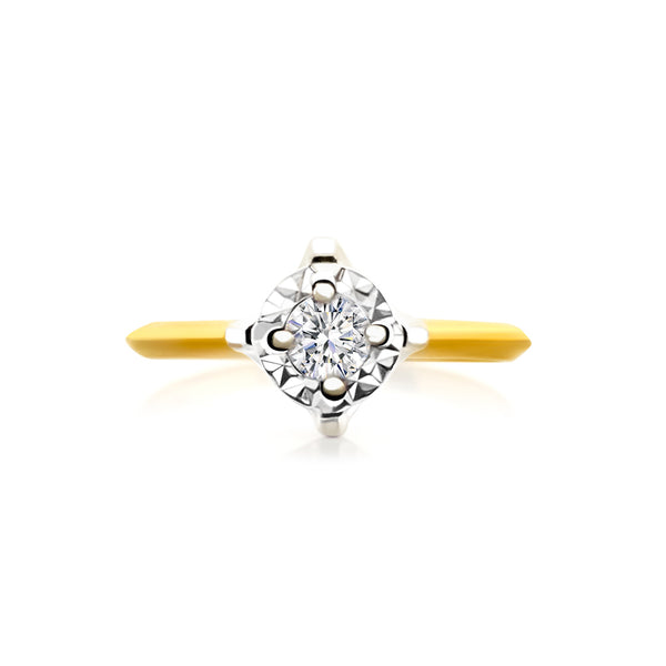 9K (375) Yellow Gold Two Tone Ladies/ Women Cubic Zirconia Ring