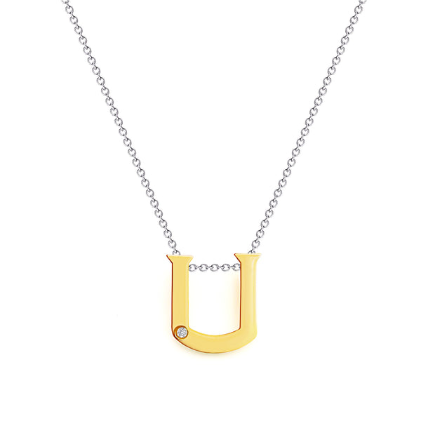 9K (375) Yellow Gold Ladies/ Women Letter U Diamond Pendant