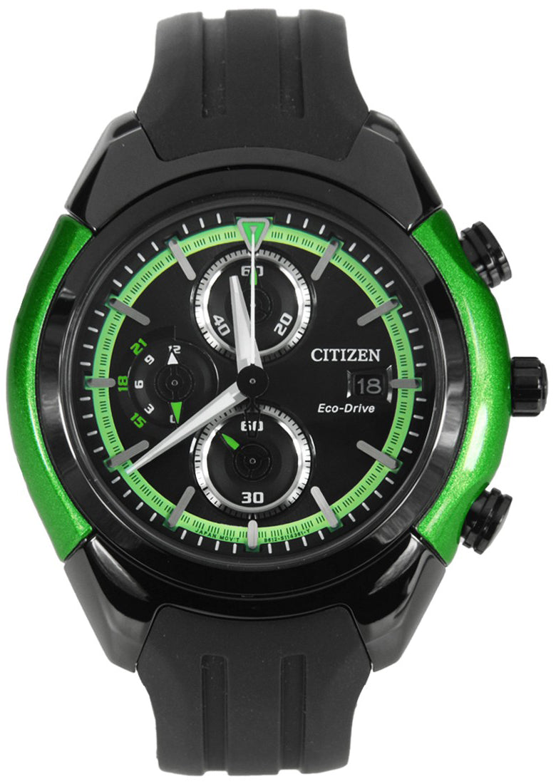 Citizen Eco-Drive Men CA0289-00E Black Dial Chronograph Rubber Stainless Steel Watch