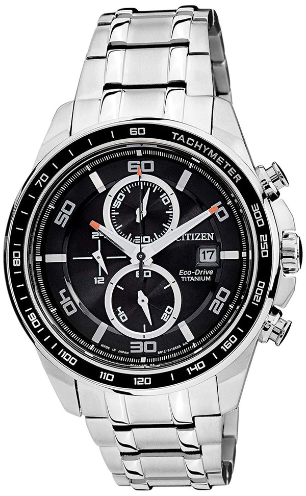 Citizen Eco-Drive Men CA0341-525 Black Dial Chronograph Super Titanium Stainless Steel Watch