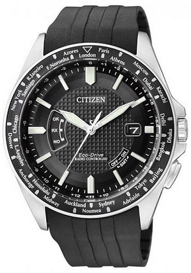 Citizen Eco-Drive Men CB0027-00E Black Dial Global Radio-Controlled Rubber Stainless Steel Watch