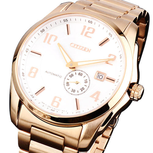 Citizen Men NJ0042-59B White Dial Gold Plated Stainless Steel Watch