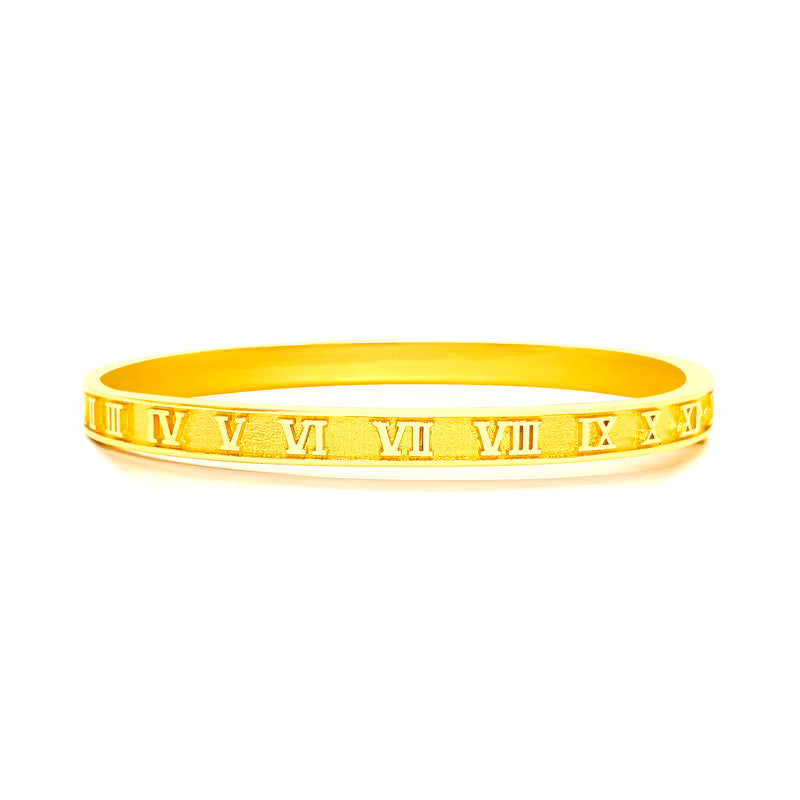 22K/ 916 Yellow Gold Oval Shaped Roman Numerals Hinged Bangle