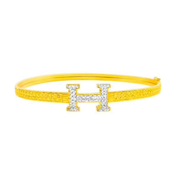 22K/ 916 Yellow Gold Oval Shaped Two Tone Letter H Bangle