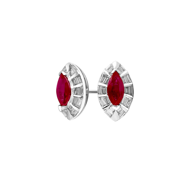 18K/ 750 White Gold Marquise Ruby Diamond Earrings