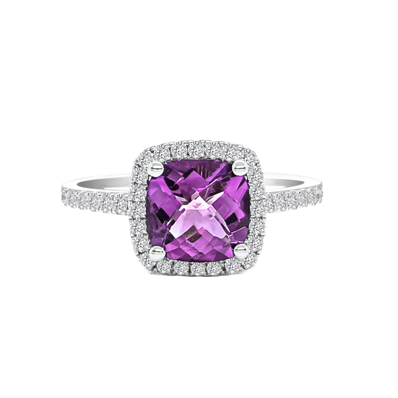 18K/ 750 White Gold Cushion Amethyst Diamond Ring