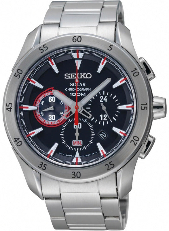 Seiko Criteria Men SSC175P1 Black Dial Solar Chronograph Stainless Steel Watch
