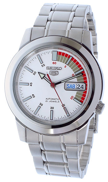 Seiko 5 Men SNKK25K1 White Dial Stainless Steel Watch