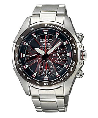 Seiko Men SSC107P1 Brown Dial Solar Chronograph Stainless Steel Watch