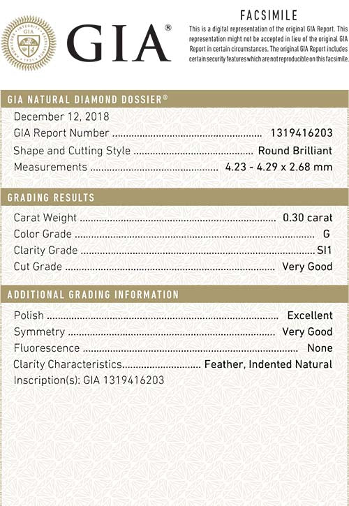 GIA Certified Round Loose Diamond, 0.30 Carat, G Colour, SI1