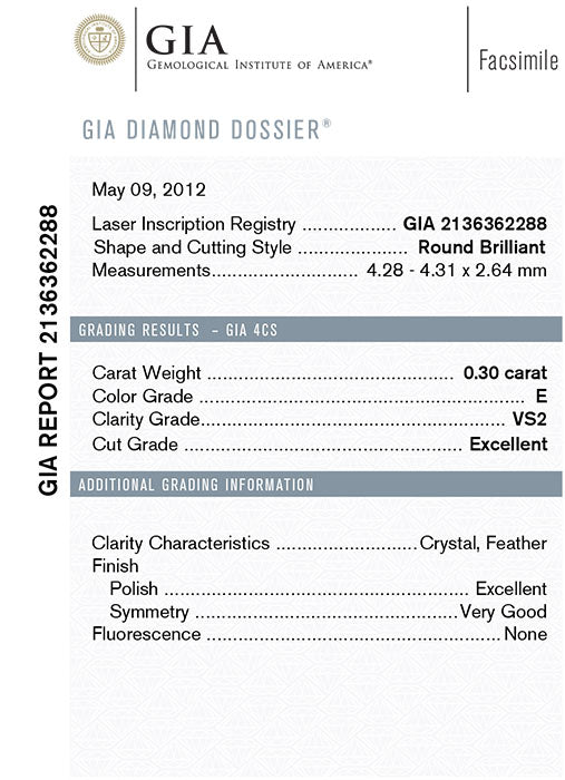 GIA Certified Round Loose Diamond, 0.30 Carat, E Colour, VS2