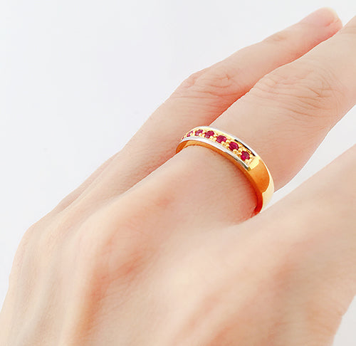 9K (375) Yellow Gold Unisex Two Tone Half Eternity Ruby Ring
