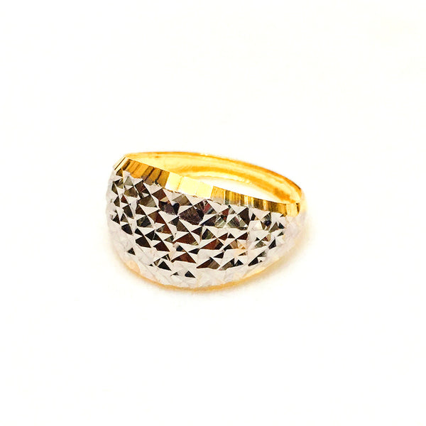 22K (916) Yellow Gold Ladies/ Women Two Tone Sparkle Ring