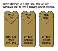 Leather Garment Tags - Heart Double Sided Foldover
