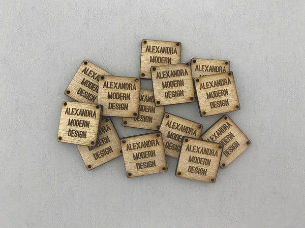Wood Knitting Tags - Square