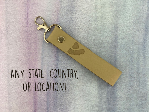 Personalized Location Leather Keychain
