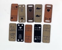 Faux Leather Garment Tags - Double Sided Foldover