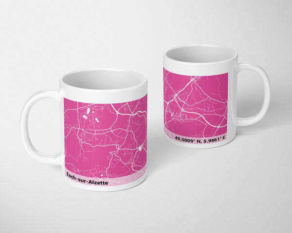Personalized PINK City Map Mug