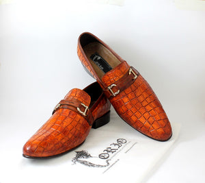 Croc texture loafers