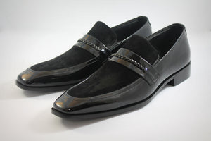 patent suede loafers