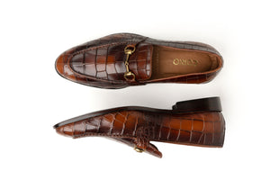 Brown Crocodile Textured Loafer