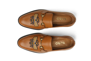 Single Buckle Embroidery Loafer