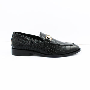 Crocodile Texture Buckle loafer