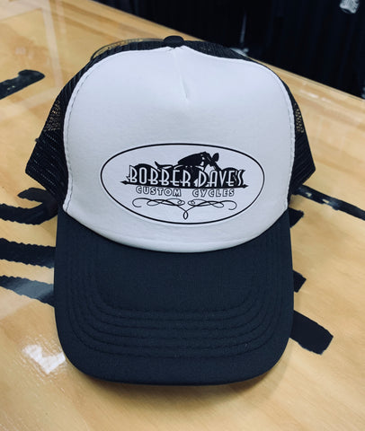 BDCC Trucker Hat with Oval Bobber Daves Logo BLACK/WHITE
