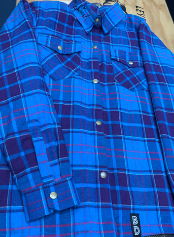 BDCC Kevlar Flannel Shirt - Blue/Purple Check
