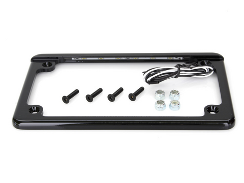 Flat Low Profile Number Plate frame with LED Illumination - BLACK