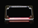 Flat Number Plate Frame with LED Red Brake Light - CHROME