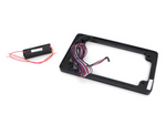 Flat License Plate Frame with LED Amber Turn Signals & Red Brake Light - BLACK