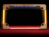 Flat License Plate Frame with LED Amber Turn Signals & Red Brake Light - CHROME