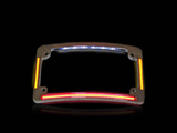 Curved Number Plate Frame with LED Amber Turn Signals & Red Brake Light -CHROME