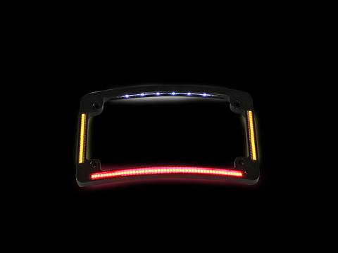 Curved Number Plate Frame with LED Amber Turn Signals & Red Brake Light -BLACK
