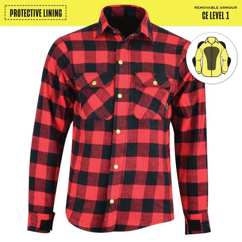 Johnny Reb Waratah Protective Shirt with Kevlar Lining - Black/Red Plaid