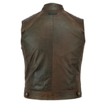 Johnny Reb Botany Vintage Leather Vest -Brown