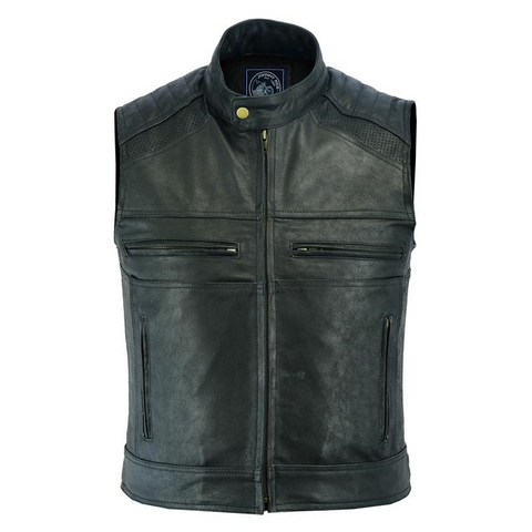 Johnny Reb Botany Vintage Leather Vest - Black