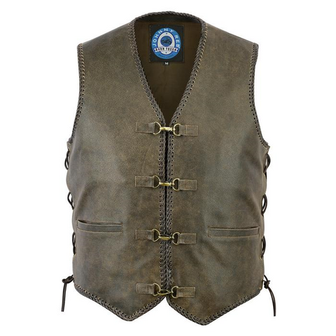 Johnny Reb Sturt Cracker Leather Vest - Cracker Brown