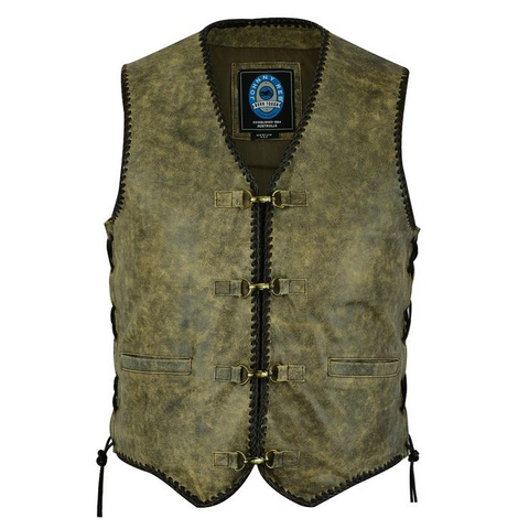 Johnny Reb Sturt Cracker Leather Vest - Mungai Brown