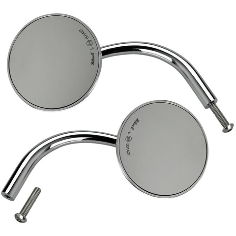 Biltwell Utility Mirrors Round for Perch- Chrome