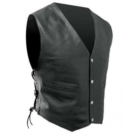 RJays Leather Vest - Black Lace-up