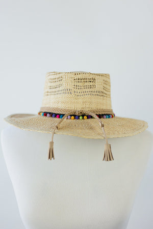 Gambler Straw Hat - Colorful Pom Pom