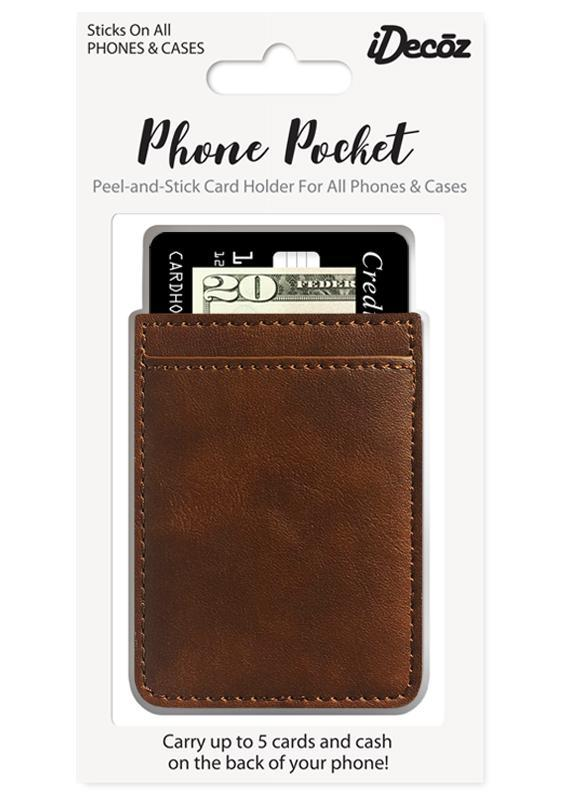 Phone Pocket Sticker - Brown Vegan Leather
