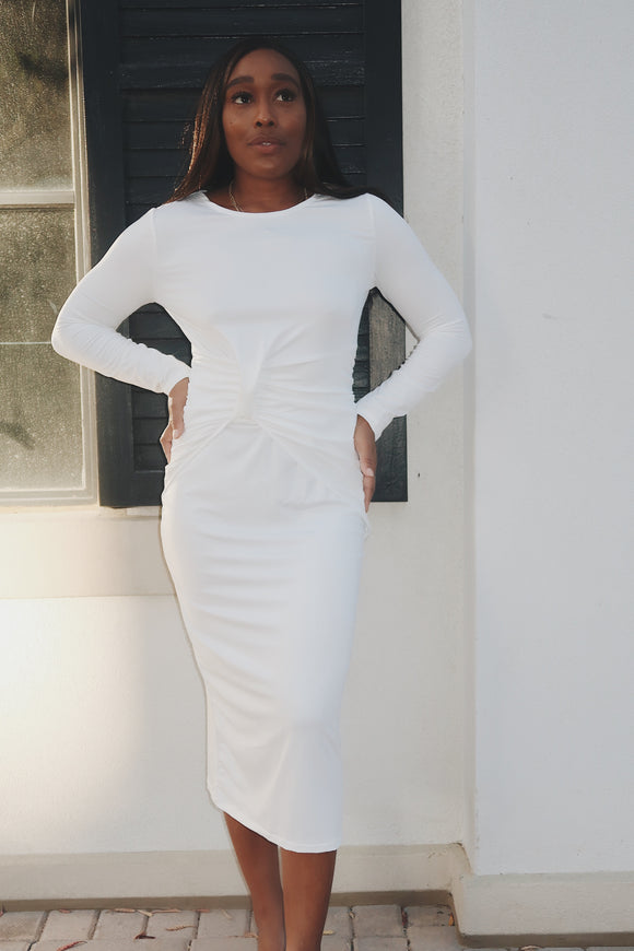 Twisted White Midi Long Sleeve Bodycon Dress