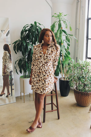 Animal Print Blazer Dress
