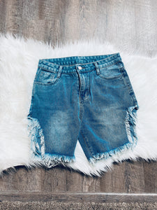 Cut Up Jean Shorts