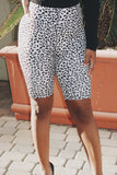 High Waist Cheetah Print Biker Shorts