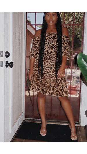 Leopard Off The Shoulder Dress